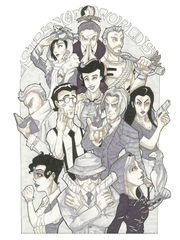 A drawing of the cast of heroes from _Strange Worlds_.